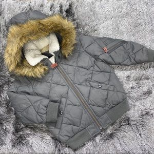 Gap Grey Fleece Lined Quilted Jacket